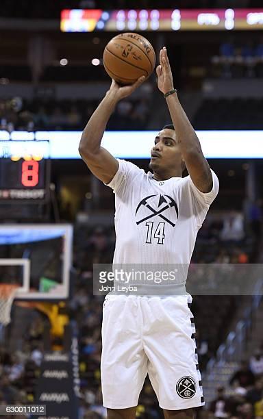 Denver Nuggets guard Gary Harris takes a shot against the Portland Trail Blazers December 15 2016 at Pepsi Center