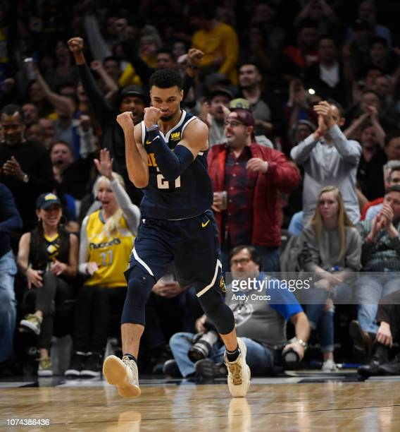 Denver Nuggets guard Jamal Murray celebrates after shooting and making a basket against the Dallas Mavericks in second half at Pepsi Center December...