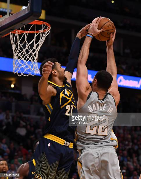 Denver Nuggets guard Jamal Murray just about blocks a shot by Cleveland Cavaliers forward Larry Nance Jr in the third quarter on March 7 2018 at...