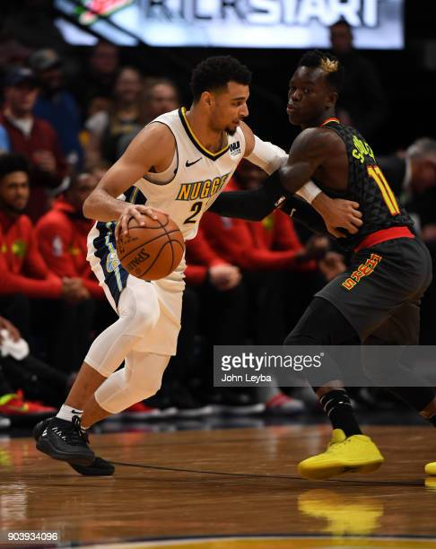 Denver Nuggets guard Jamal Murray looks to make a move on Atlanta Hawks guard Dennis Schroder during the first quarter on January 10 2018 at Pepsi...