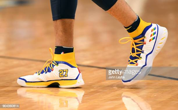 Denver Nuggets guard Jamal Murray with his throwback shoes versus the Memphis Grizzlies on January 12 2018 at Pepsi Center