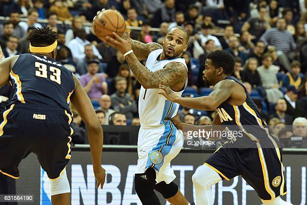 Denver Nuggets' guard Jameer Nelson looks to pass as Indiana Pacers' guard Aaron Brooks closes in during the NBA Global Game London 2017 basketball...