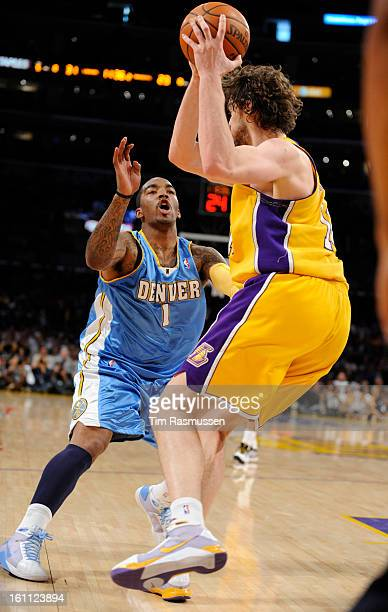 Denver Nuggets guard JR Smith left defends Los Angeles Lakers center Pau Gasol right in the second quarter of play in Game 2 of the Western...
