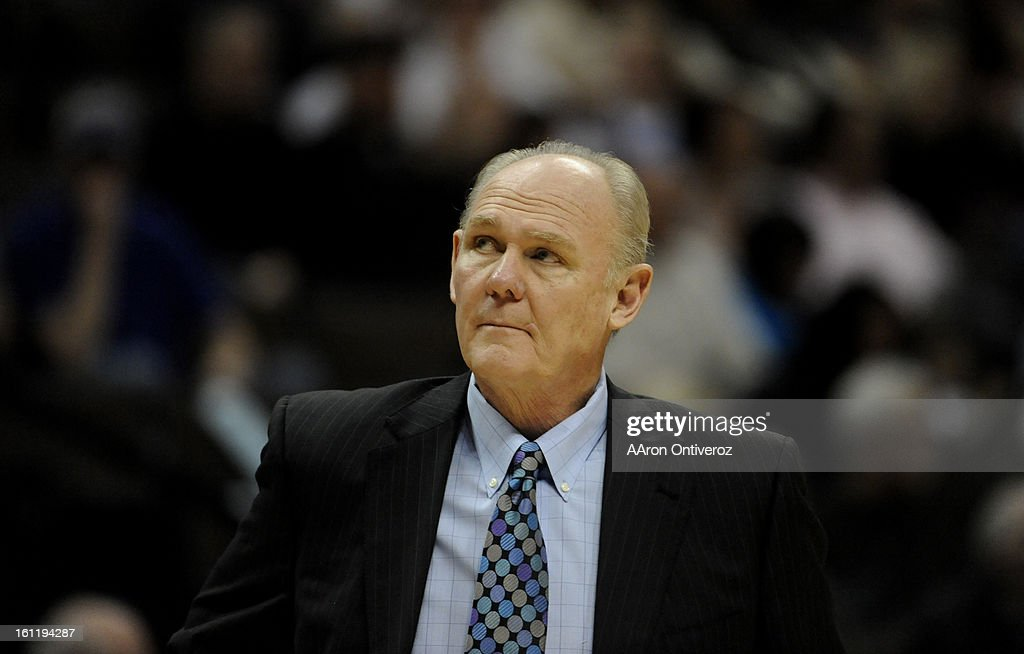 Denver Nuggets head coach George Karl looks into the crowd after calling a timeout against the Atlanta Hawks during the first quarter on Monday, February 28, 2011 at the Pepsi Center. AAron Ontiveroz, The Denver Post : News Photo