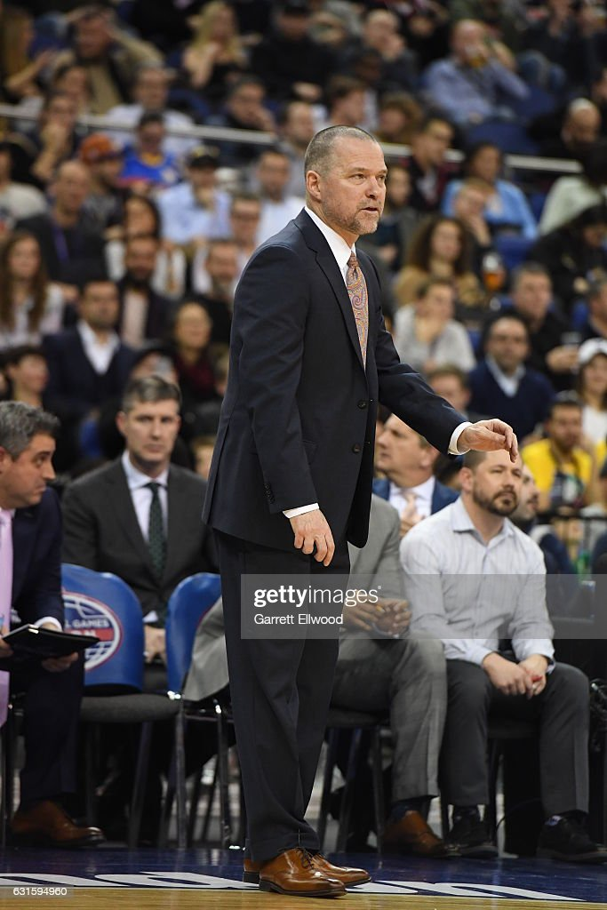Denver Nuggets head coach Michael Malone looks on against the Indiana Pacers as part of 2017 NBA London Global Games at the O2 Arena on January 12, 2017 in London, England.