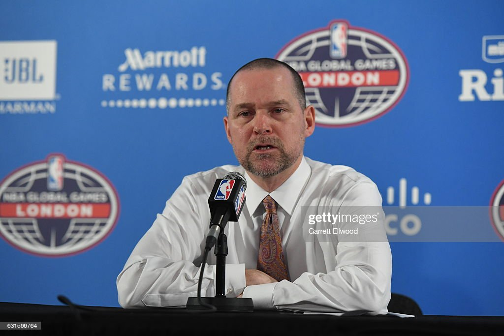 Denver Nuggets head coach Michael Malone talks to the media following the game as part of 2017 NBA London Global Games at the O2 Arena on January 12, 2017 in London, England.