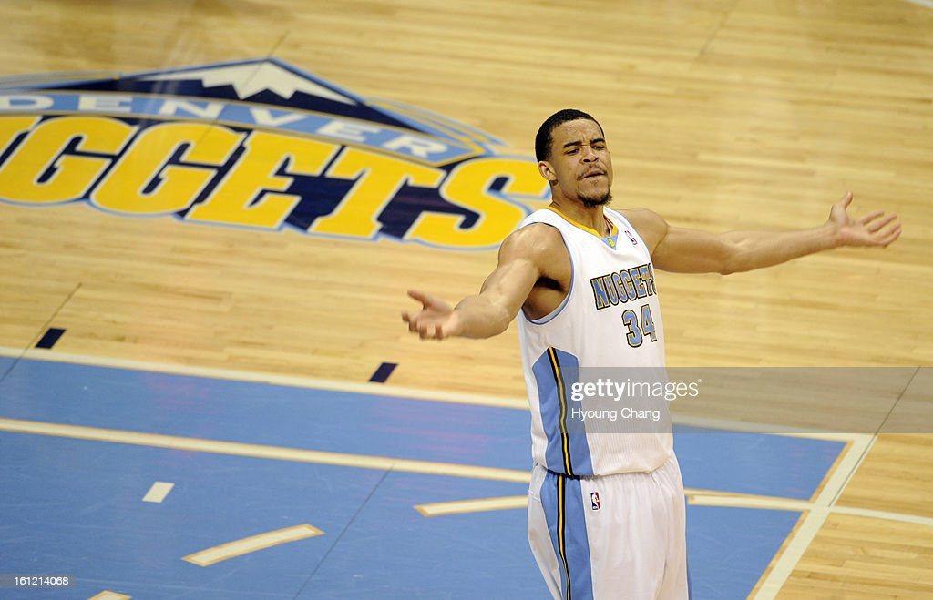 Denver Nuggets Javale McGee celebrates leading of the game against L.A. Lakers at Pepsi Center in Denver, Colo., on Friday, May 4, 2012. Denver won 99-84. Hyoung Chang, The Denver Post : News Photo