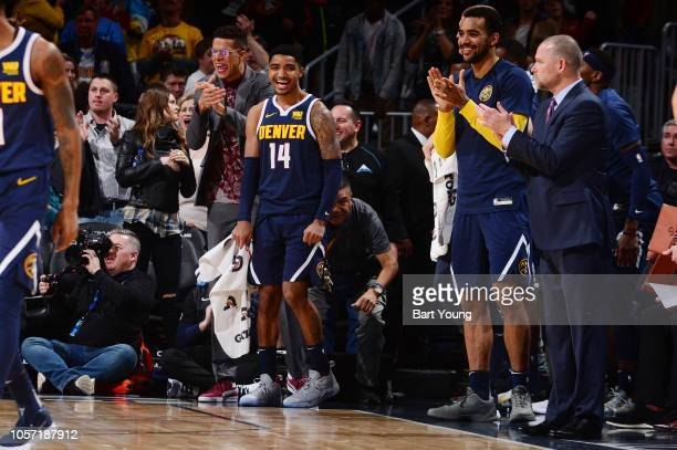 Denver Nuggets players celebrate during the game against the Utah Jazz on November 3, 2018 at the Pepsi Center in Denver, Colorado. NOTE TO USER:...