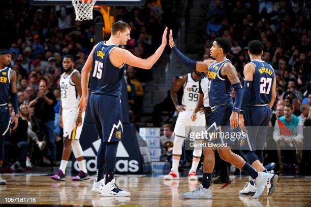 Denver Nuggets players celebrate during their game against the Utah Jazz on November 3, 2018 at the Pepsi Center in Denver, Colorado. NOTE TO USER:...