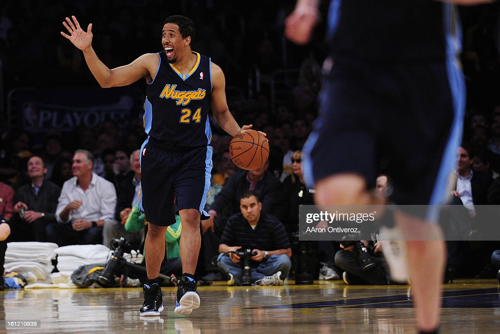 Denver Nuggets point guard Andre Miller (24) calls out a play during the second half of game two of their opening round NBA Playoffs series at the Staples Center in Los Angeles on Tuesday, May 1, 2012. AAron Ontiveroz, The Denver Post : News Photo