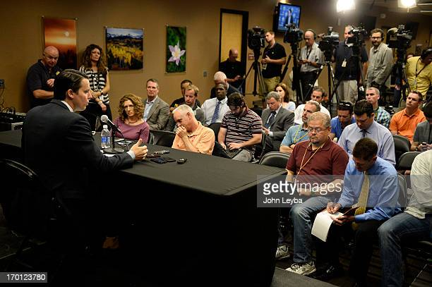 Denver Nuggets President Josh Kroenke holds press conference June 7 2013 giving details of the departure of George Karl as the Nuggets head coach at...
