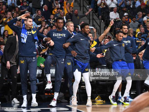 Denver Nuggets react to a play against the San Antonio Spurs during Game Five of Round One of the 2019 NBA Playoffson April 23 2019 at the Pepsi...