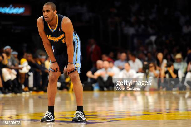 Denver Nuggets shooting guard Arron Afflalo takes a breather against the Los Angeles Lakers during the second half of the Lakers' 10388 game 1 first...