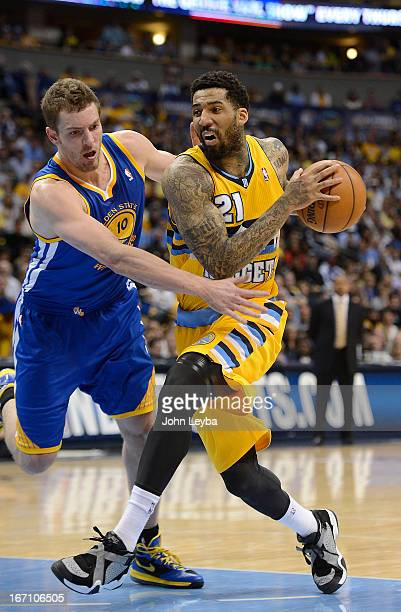 Denver Nuggets shooting guard Wilson Chandler drives to the basket against Golden State Warriors power forward David Lee in the second quarter The...