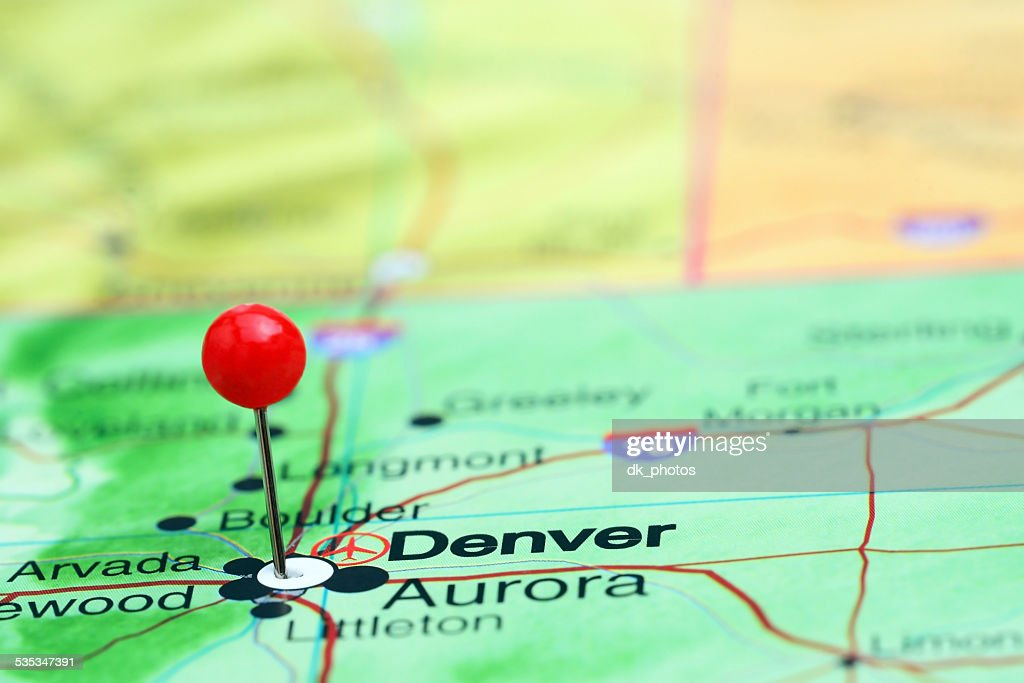 Denver Pinned On A Map Of Usa High-Res Stock Photo - Getty ... on transportation in denver, home in denver, zip code map in denver, star in denver, usa map in miami, animals in denver, weather in denver,