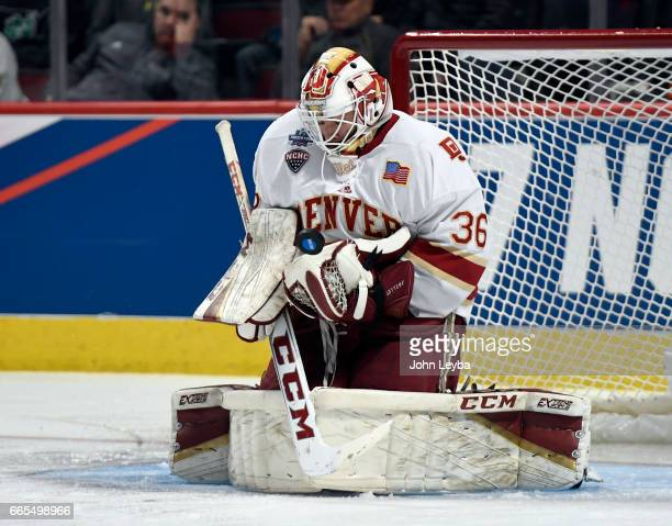Denver Pioneers goalie Tanner Jaillet makes a save during the second period against the Notre Dame Fighting Irish on April 6, 2017 in Chicago,...