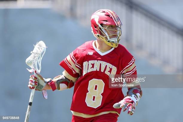 Denver Pioneers midfielder Colton McCaffrey during a college lacrosse match between Denver Pioneers and Providence Friars on April 21 at Anderson...