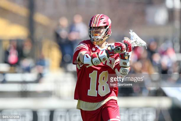 Denver Pioneers midfielder Connor Flynn during a college lacrosse match between Denver Pioneers and Providence Friars on April 21 at Anderson Stadium...