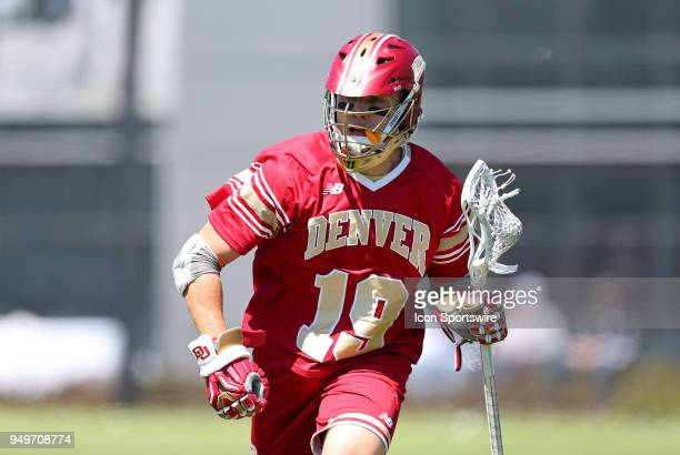 Denver Pioneers midfielder Danny Logan during a college lacrosse match between Denver Pioneers and Providence Friars on April 21 at Anderson Stadium...