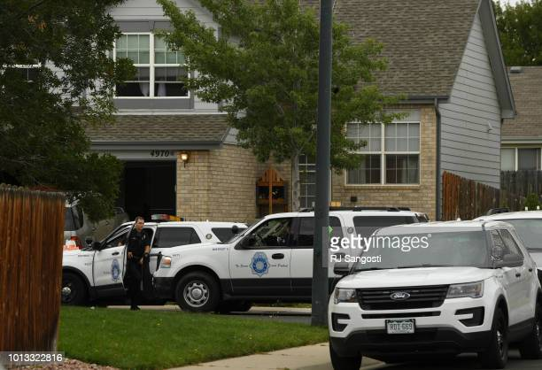 Denver police are in front of the home where 7yearold Jordan Vong lived in Montbello on August 8 2018 in Denver Colorado