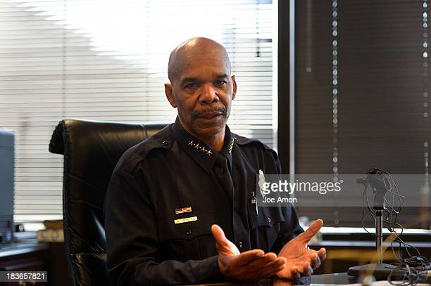 Denver police chief Robert White speaks from his office about the beating and robbery that occurred at the 30th and Downing St light rail station on...
