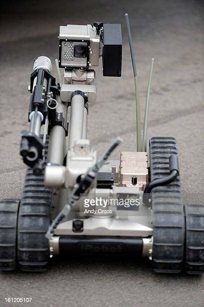 Denver Police Department's newest Bomb Squad bomb disposal robot the iRobot at the DPD Traffic Operations headquarters Wednesday morning Andy Cross...
