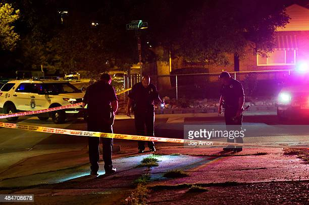 Denver police looking for evidence from a shooting at 33rd and Holly in Park Hill August 21 2015 Denver CO