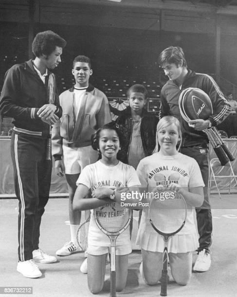 Denver Post Junior Tennis Clinic Winners Denver Post Junior Tennis Clinic Winners Pro tennis stars Arthur Ashe left and Charles Pasarell flank...
