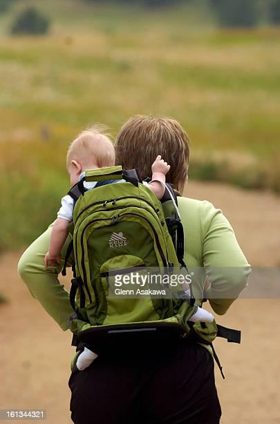 FEKELTYBOULDER COLORADO JUNE 28 2007 Denver Post reporter Christine Tatum <cq> and son Christian Asa Thurstone 6months hike at Boulder's Chautauqua...