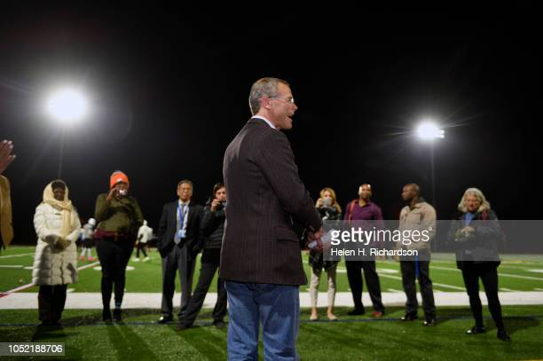 Denver Public Schools superintendent Tom Boasberg middle gives remarks to school officials members of the media and football coaches under the new...