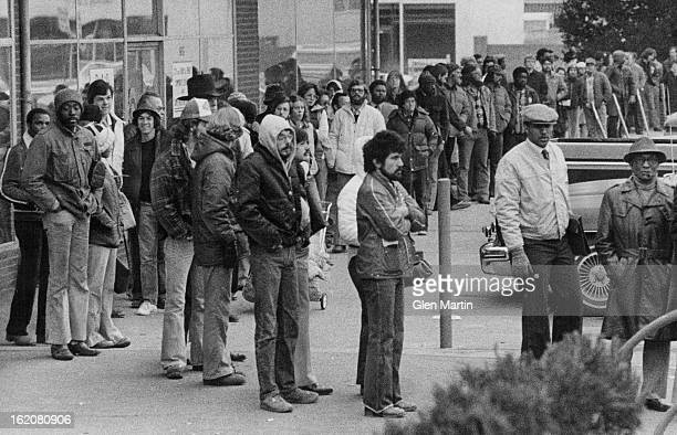 FEB 16 1979 Denver residents line up in front of the motorvehicle licensing bureau 675 S Broadway in the annual rush vehicles' license plates