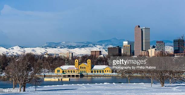Denver Skyline at Sunrise in Winter