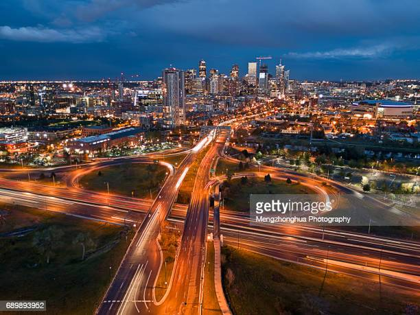Denver Skyline by Drone