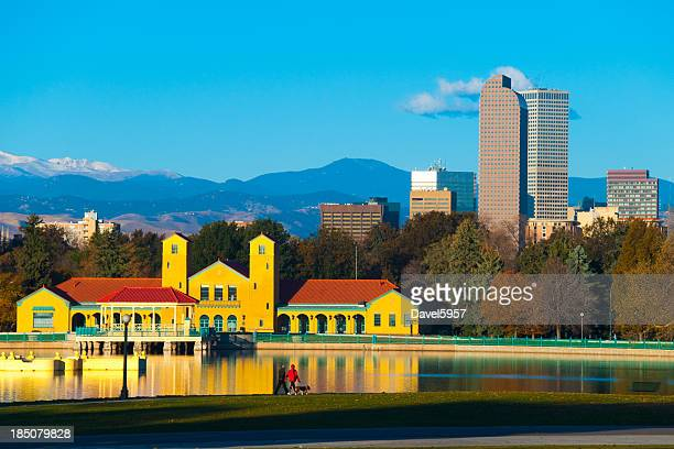 Denver skyline, mountains, and lake