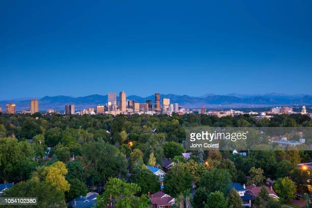 denver skyline, neighborhoods,front range, rocky mountains, colorado - front range mountain range stock pictures, royalty-free photos & images