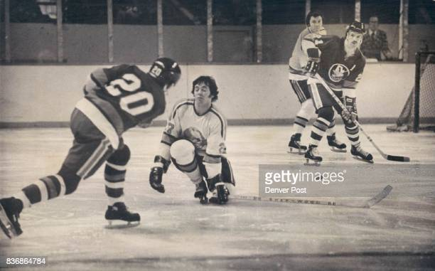 Denver Spurs Another stab in the dark This time Denver's Brian Ogilvre stood opened his eyes he would have seen puck go over stick In front of net is...