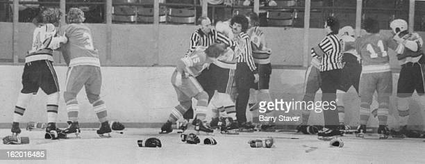 DEC 7 1974 DEC 8 1974 Denver Spurs Empty Gloves on the ice and barefisted hockey players created recurring scene in Denver spurs game Saturday night