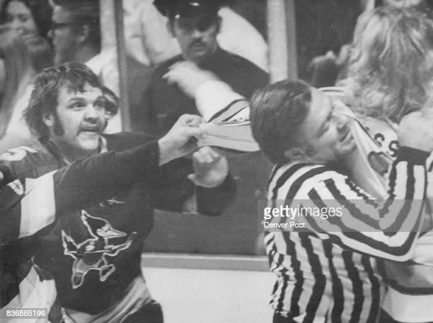 Denver Spurs Hockey Official Plays Fight Referee During FirstPeriod Melee Between Spurs Roadrunners Official Wayne Klink probably feels he deserves...