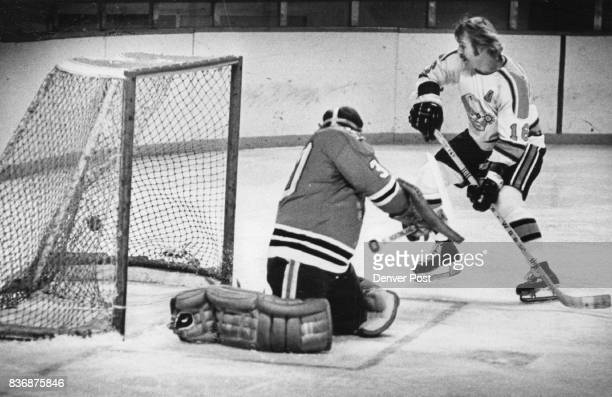 Denver Spurs Scores goal in 2nd period Goals Were a Dime a Dozen Friday Night at the Coliseum Jack Borotsik of Denver looks admiringly at one he shot...