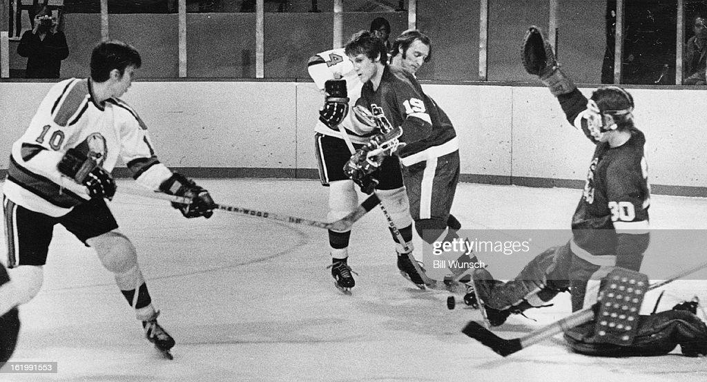 DEC 10 1971, DEC 11 1971; Denver Spurs (Action); Seattle Goalie Foils Denver Thrust Before Deluge at : News Photo