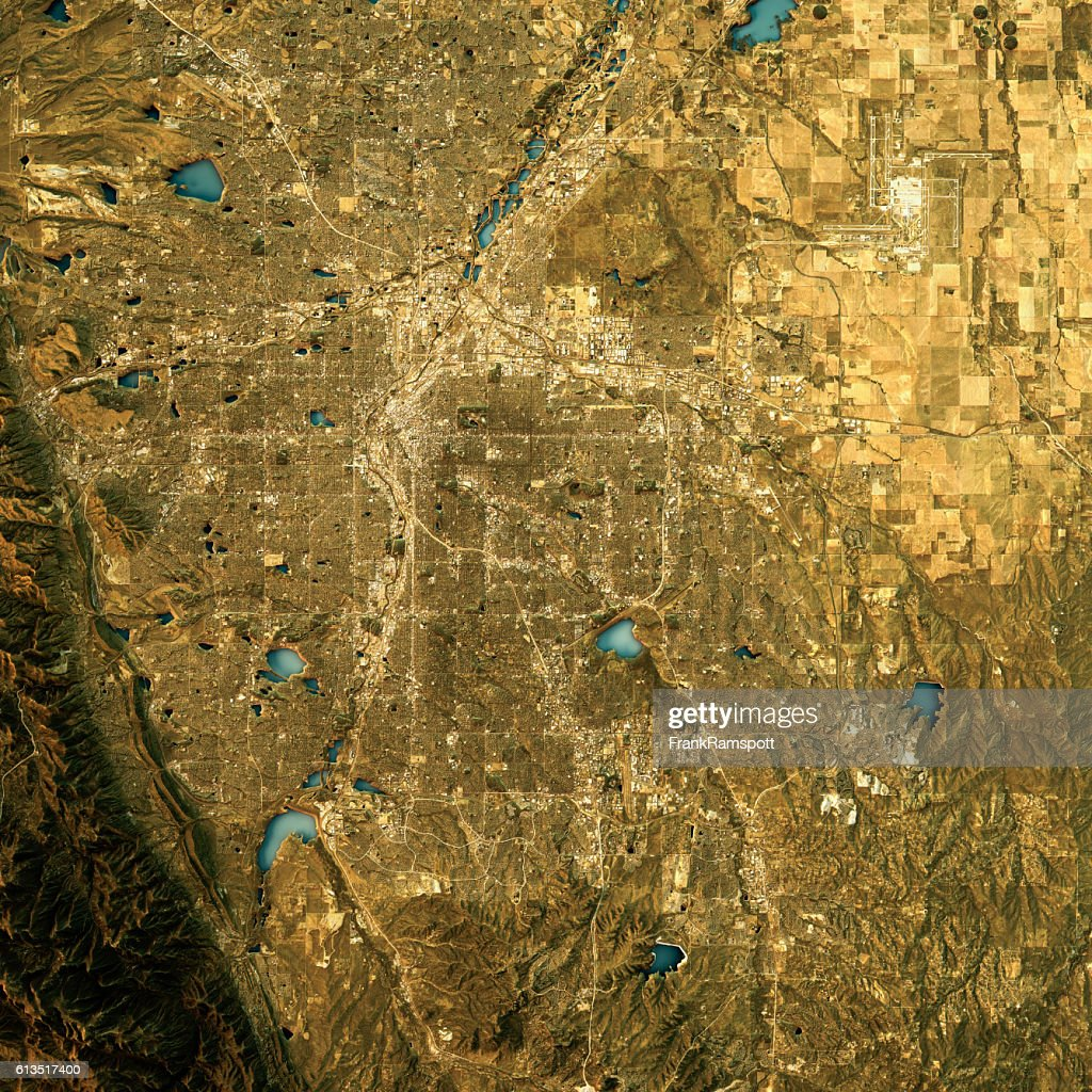 Denver Topographic Map Natural Color Top View : Stock Photo