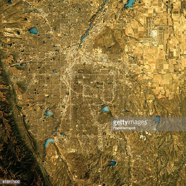 denver topographic map natural color top view - frank ramspott stock pictures, royalty-free photos & images