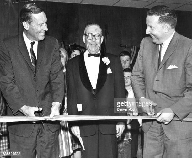 Denver Wax Museum Dedicated Gov John Love left and Mayor Tom Currigan cut ribbon opening Wax Museum at 919 Bannock St Center is J Alfred Ritter Jr...
