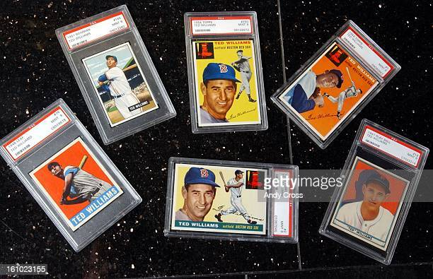 COOnly a small sample of Marshall Fogel's baseball card collection these of baseball great Ted Williams who died Friday From left to right 1948 leaf...