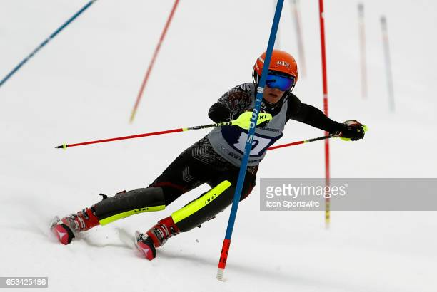 Denver's Andrea Komsic during the NCAA Women's Slalom Skiing Championship on March 10 2017 at Cannon Mountain in Franconia New Hampshire