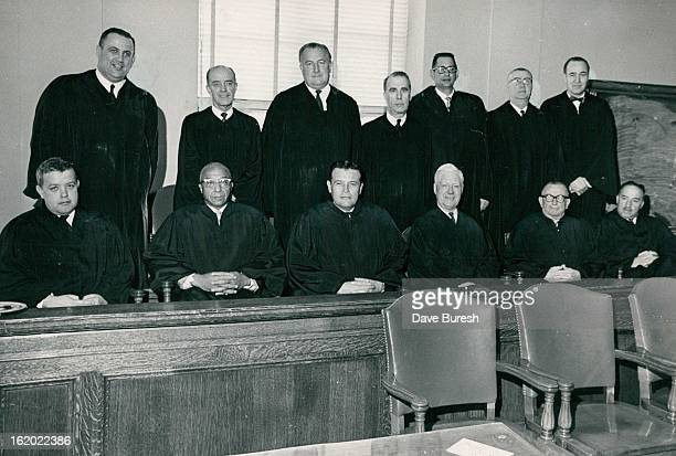 JAN 11 1966 JAN 13 1966 Denver's District Court Judges Began New Court Term Tuesday with Reorganized System In front from left are Judges Richard L...
