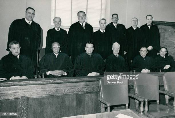 Denver's District Court Judges Began New Court Term Tuesday with Reorganized System In front from left are Judges Richard L Ott James C Flanigan...