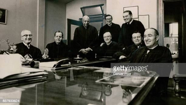 Denver's District Judges Sworn In For SixYear Terms As 1971 Session Opens From left are seated Probate Judge David Brofman Juvenile Judge Philip...