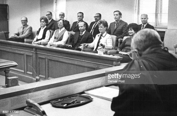 Denver's Grand Jury for 1971 Dist Judge James C Flanigan instructs the new Denver grand jury after it was impaneled Thursday Back row from left Garth...