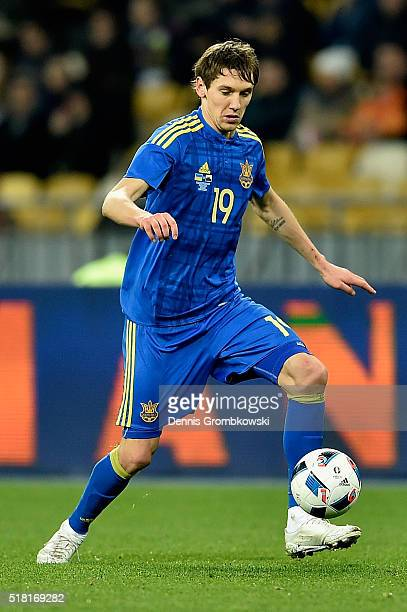 Denys Garmash of Ukraine controls the ball during the International Friendly match between Ukraine and Wales at NSK Olimpijskyj on March 28 2016 in...